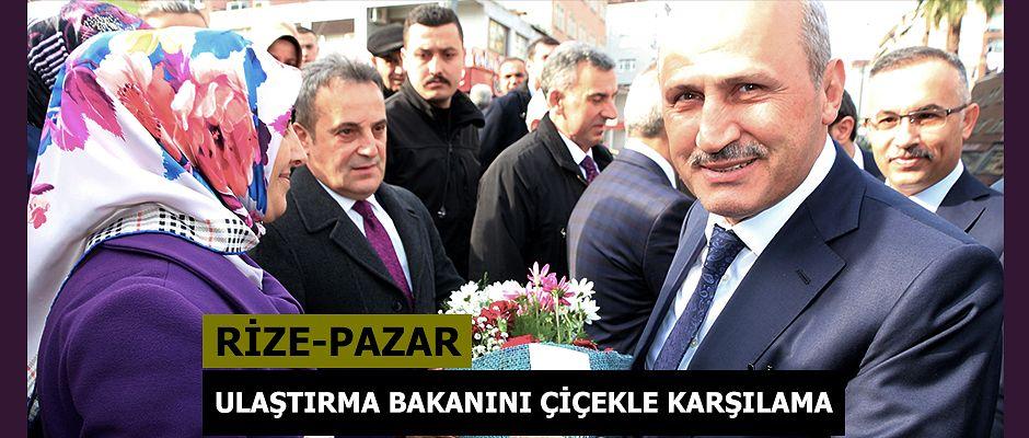 Bakan Turhan Pazar'da Çiçekle karşılandı