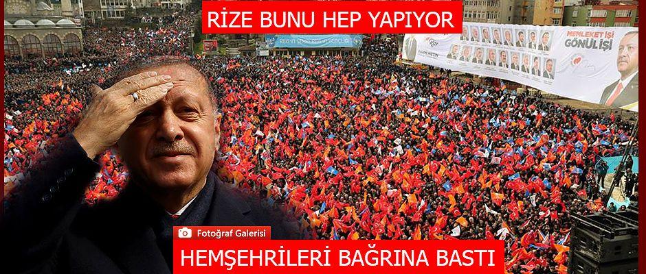 Hemşehrileri Cumhurbaşkanı Erdoğan'ı bağrına bastı
