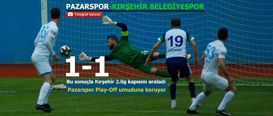 Pazarspor Kırşehir Belediyespor'u evinde konuk etti.Karşılaşma 1-1 sona erdi