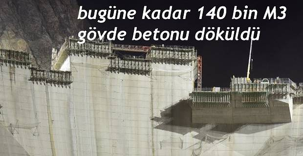 HES Projesinde Baraj Gövde Betonu dökülmesi çalışmaları devam ediyor.