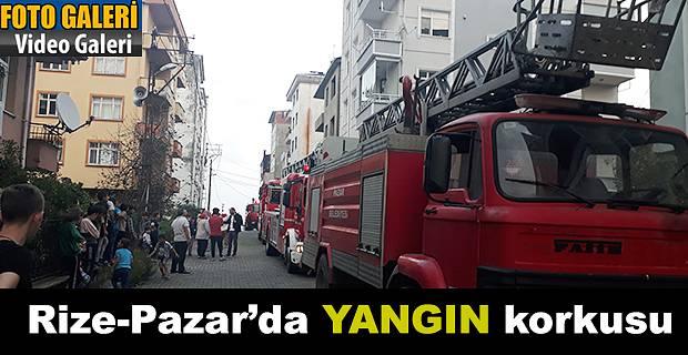 Rize Pazar'da Yangın korkusu ucuz atlatıldı