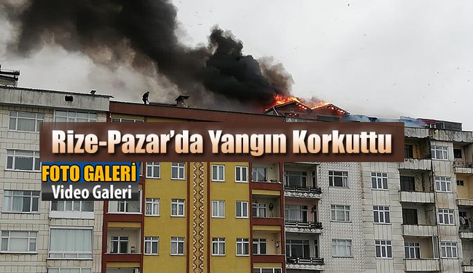 Rize-Pazar'da Apartmanda çıkan yangın korkuttu