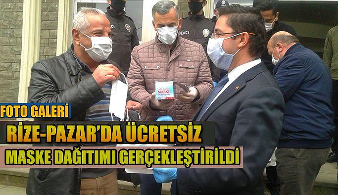 Rize-Pazar'da maske dağıtıldı