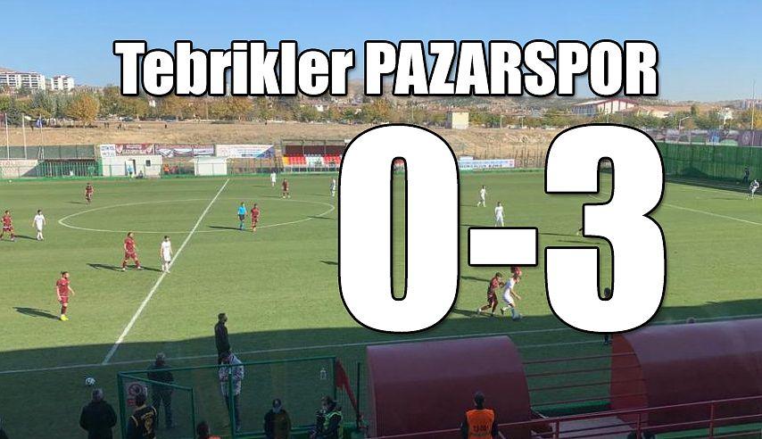 Tebrikler PAZARSPOR; Deplasmandan 3 gol,3 puanla dönüyor