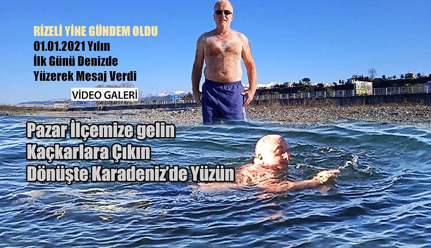 Buz gibi havada Karadeniz'de yüzdü: Denizden mesaj verdi.
