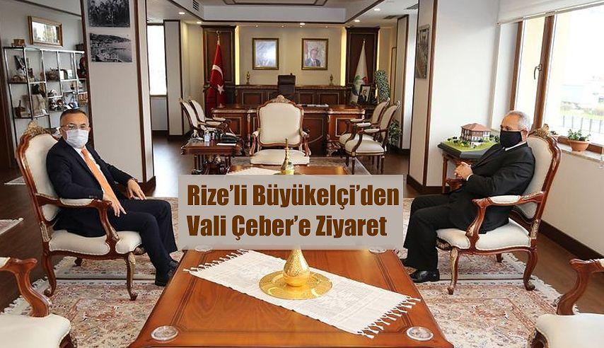 Rize'li Büyükelçi Ali Sait Akın, Vali Kemal Çeber'i Ziyaret Etti