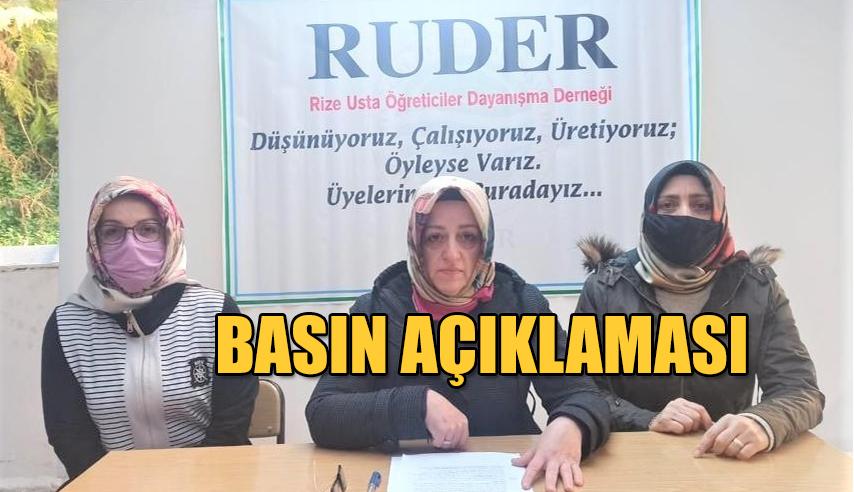 RUDER Başkanı Rüya TURANLI'dan basın açıklaması;
