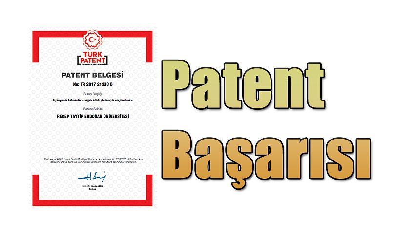 RTEÜ'den Patent Başarısı