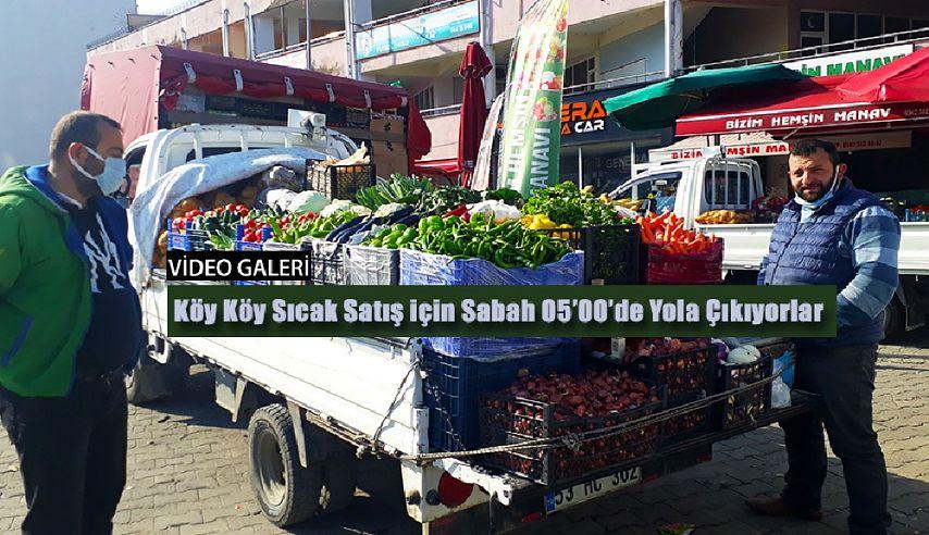 Köy köy dolaşıp sebze ve meyve satıyor