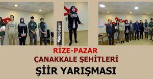 """Pazar'da 18 Mart """"Çanakkale Şehitlerine """"Şiir okuma yarışması düzenlendi."""