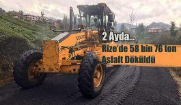 Rize'de iki ayda 58 bin 76 ton asfalt döküldü