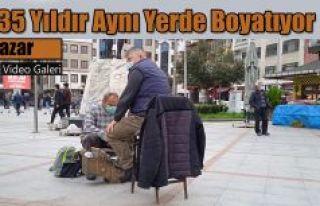 35 yıldır Pazarlıların Ayakkabılarını boyatıyor