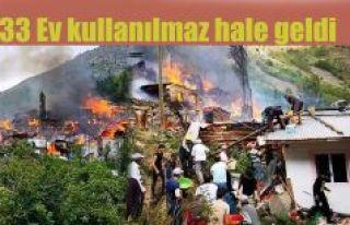 Yüncüler köyünde çıkan yangında 33 ev yanarak...