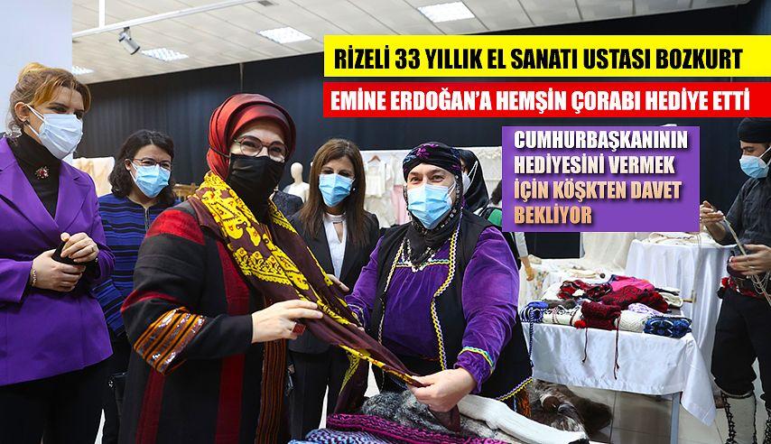 Emine Erdoğan'a Hemşin Çorabı ve tozluk hediye etti.