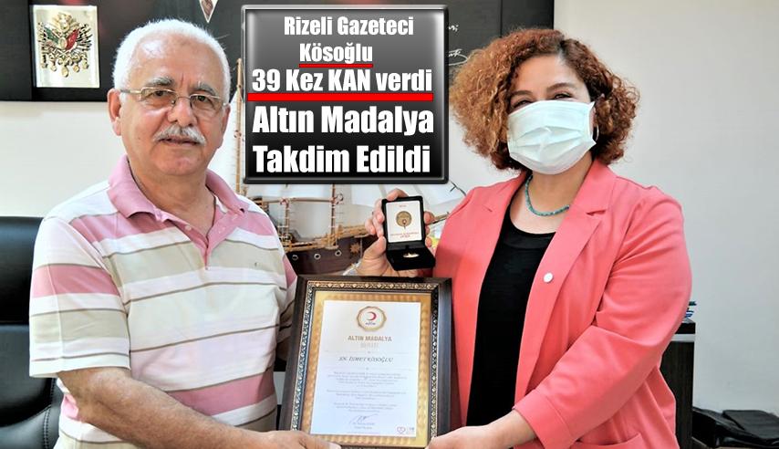 Rizeli Gazeteci Kösoğlu'na ALTIN Madalya