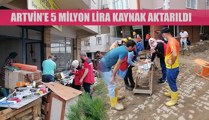 Sel felaketinden etkilenen Artvin'e 5 milyon lira kaynak